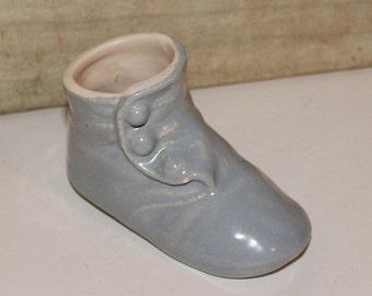 Vintage Baby Bootie - Blue - Collectibles - Nursery Decor - Baby Shower Gift - Home Decor - Vintage Nursery - Victorian
