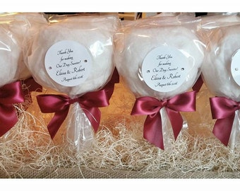 Wedding Favors!  Edible and Customizable!  Cotton Candy Pops (dozen)