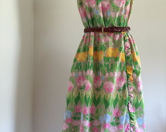 Vintage 60's Pastel Floral Ruffle Sun Dress with Pockets by Jenni S M