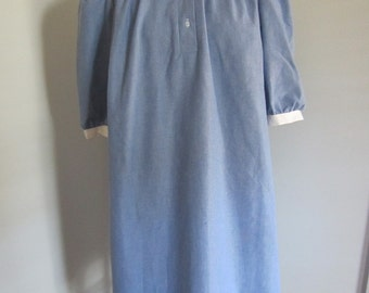 Vintage 70's Chambray Maternity Puff Sleeve Tent Dress with Peter Pan Collar M L