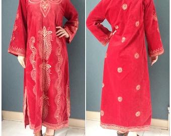 70s Velvet Embroidered Kaftan Maxi Dress