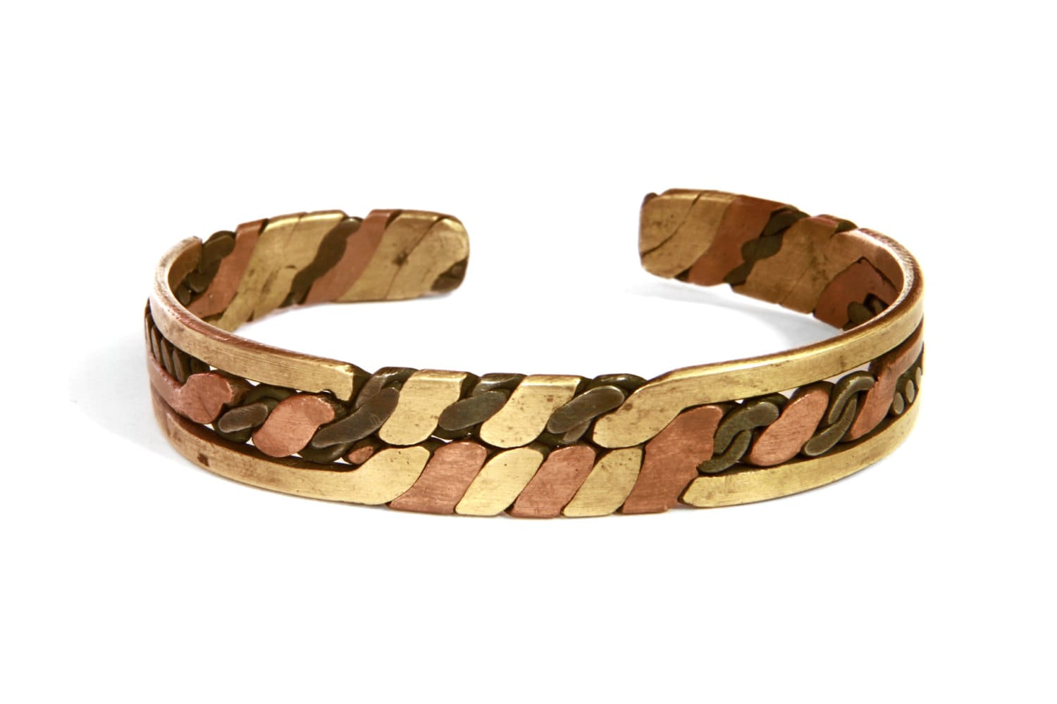 mens jewelry brass copper cuff bracelet heavy hammered