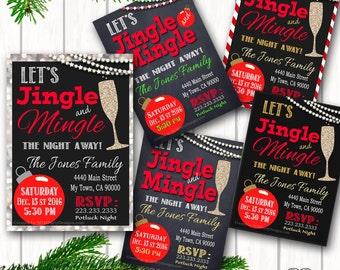 Jingle Mingle Christmas Party invitation / Printable PDF / JPG /  Print at Home