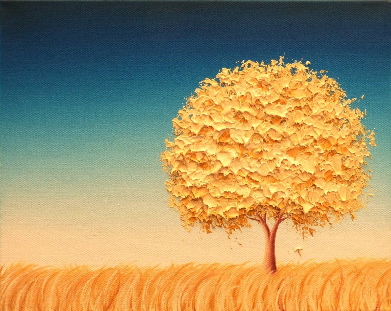 Mid century modern art landscape painting minimalist art tree for The art of minimalist living