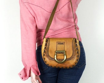 Leather Saddle Bag - Vintage 70s Small Purse