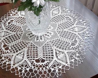 Large crochet doily White elegant crochet doilies Table decoration Round lace doily Large crochet centerpiece Crochet table runner