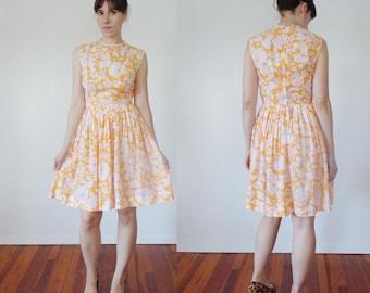 Vtg 50s 60s Cotton NEON ORANGE Floral Print Dress, Small