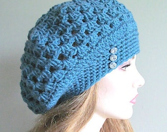 PDF Crochet Pattern Instant Download Aqua Blue Slouchy Beanie Beret Hat Womens Girls