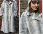 1970s faux fur coat long grey white vintage seventies fluffy winter coat