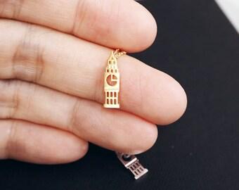 Big Ben Necklace, London jewelry, UK Landmark, Clock Tower, England, BigBen Charm,Dainty Necklace,Holiday gift