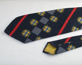 Vintage Hughes & Hatcher Men's Tie, Navy with White Red and Yellow designs