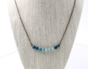 blue jasper bar necklace with antique bronze chain - blue jasper, jasper necklace, gemstone jewelry, gemstone necklace, jasper necklace