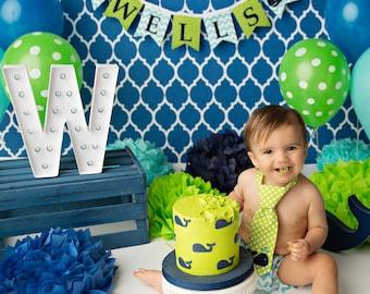 WHALE BANNER / 1st birthday boy / First Birthday Banner / 1 Year Old Birthday Boy / Cake smash boy / Nautical birthday / Whale baby shower