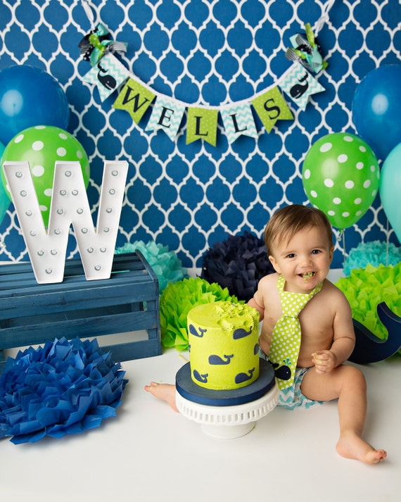 Whale Banner 1st Birthday Boy First Birthday Banner 1 Year Old