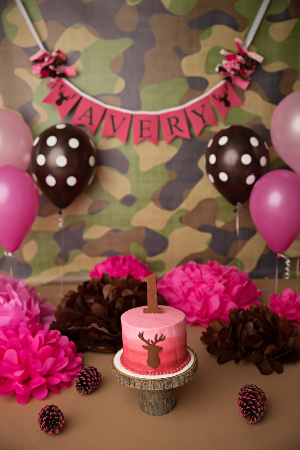 Camo birthday banner 1st birthday girl camo 1st birthday for Pink camo decorations