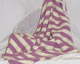 Soft Knit Baby Blanket in Light Purple and Cream Stripes