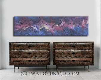 Aurora Borealis painting /  Night sky abstract painting/ ORIGINAL AcryliCrete Painting/ 54 x 16 / Galaxy, Night sky