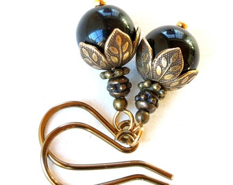 Black dangle earrings - onyx gemstone bead & antiqued gold brass leaves