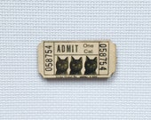 Black Cat Ticket Wood Needle Minder