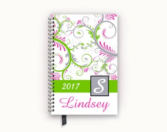 2017 Calendar Personalized Family or Academic Student Planner with Lime and Hot Pink Paisley Swirl Cover