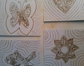 Wood burned on Paper Zentangle set of four small pictures heart, fish, flower, and butterfly