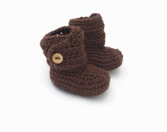 brown baby booties, gender neutral baby bootees, unisex baby shoes, brown baby button boots