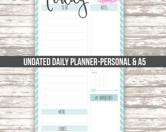Daily planner • undated • Filofax personal size • A5 • DIGITAL printable