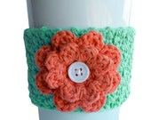 Crochet Flower Coffee Cup Cozy Sea Breeze and Coral
