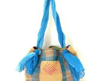 kantha quilt bag - reversible sari hobo