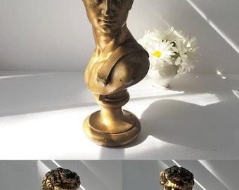 Vintage Michelagelo's David Statue Austin Produtions 1966, Bust of David Gold Finish, Italian Renaissance Sculpture, Library Office Decor