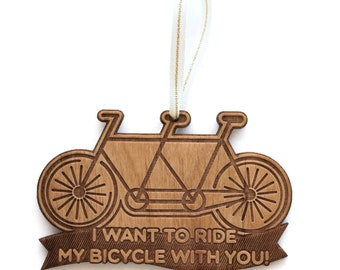 Tandem Bike Wood Ornament