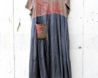 Casual Dress, Day Dress, Embroidered knit dress, upcycled clothes for women, bohemian dress, eco clothing, anthropologie inspired dress