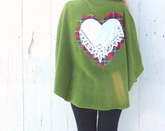 Upcycled Jacket - Fleece Capelet - Green one of a kind sweater - shabby chic clothing for women - tartan plaid jacket - refashioned ladies