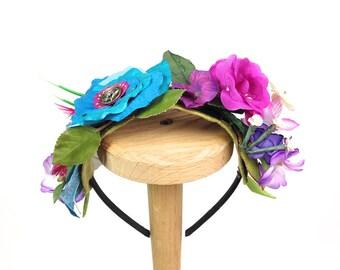 Flower Girl Headband Blue Pink Rose Wedding Headband Antique Button Vintage silk flowers Woodland Fairy