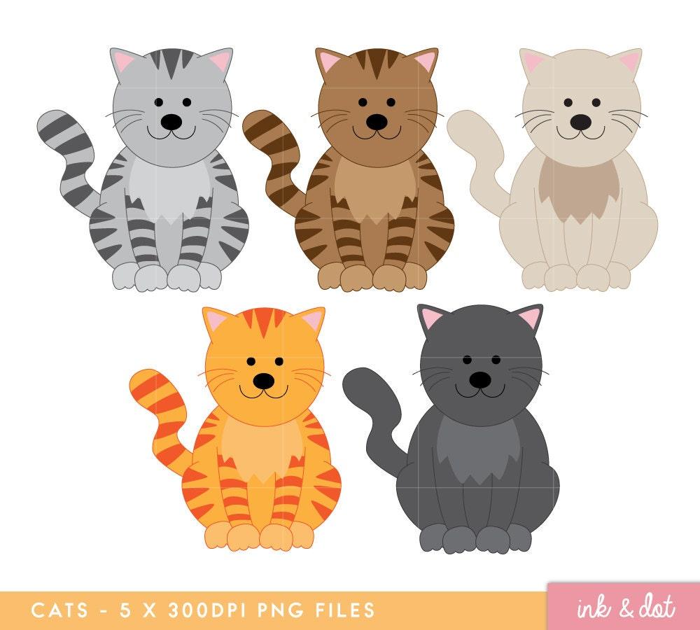 Cats Clip art Cute Cat Digital clipart Kitty Kitten Tabby