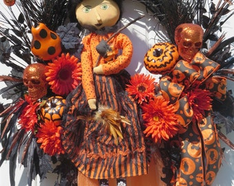 Halloween Witch Wreath, Halloween Door Wreaths, Halloween Pumpkins Wreath, Halloween Front Door Wreath, Door Wreath Halloween, Skeletons