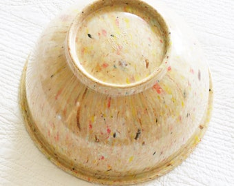 Vintage Shabby Chic Cafe au Lait, Pomegranate Red, and Saffron Yellow Texas-Ware Bowl, Farmhouse Vintage, Olives and Doves