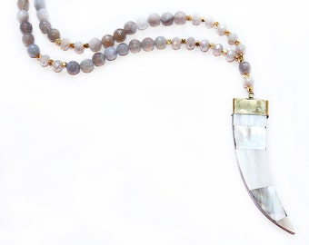 Mother of Pearl Abalone Horn Tusk Necklace - Gold Filled - Beaded Necklace - Tusk Necklace - Horn Necklace - Boho Jewelry - Long Necklace