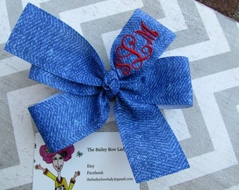 Monogrammed Denim Hair Bow