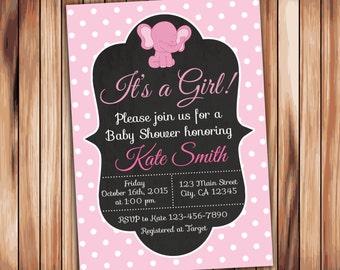Elephant Baby Shower Girl Invitation -Digital Printable Chalkboard Invitation - Pink Babyshower -Personalized Printable Baby Shower (003)