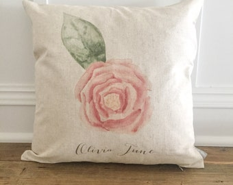 Custom watercolor Rose pillow cover