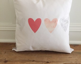 Patterened Hearts Pillow Cover
