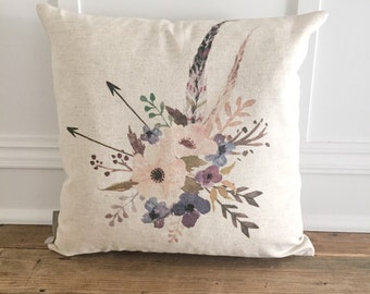 Flower & Feathers Pillow Cover