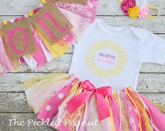 5 Piece Set: You are my Sunshine 1st Birthday Girl Outfit & Birthday Banners Birthday Outfit Baby Girl Tutu Cake Smash Outfit Fabric Tutu