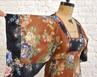 70s Boho Gypsy Dress - Rayon Floral Print Patchwork - Hankie Hem - Angel Sleeves