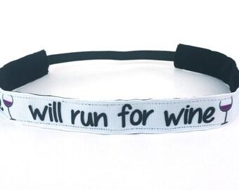 "Will Run For Wine NonSlip Headband 1"", Gift for Runners, Running Headband, Fitness Headband, Wine Accessory, Gym Apparel, Yoga Headband"