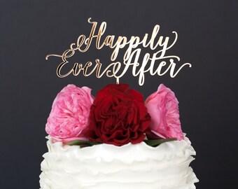 Wedding Cake Topper - Gold Wedding Cake Topper - Custom Wedding Cake Topper - Happily Ever After