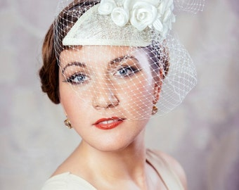 Cream Bridal Fascinator with Silk Roses and Birdcage Veil - Bridal Teardrop Fascinator - Ivory Wedding Hat