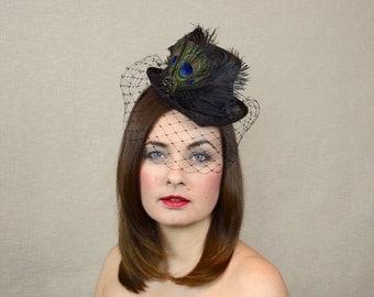 Black Mini Top Hat with Birdcage Veil - Black Fascinator - Mini Riding Hat - Black Wedding Hat - Steampunk Hat