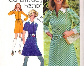 "Vintage 1971 Simplicity 9810 Young Contemporary Fashion  Retro Mini Dress Sewing Pattern Size 12 Bust 34"" UNCUT"